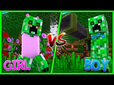Minecraft - BOY CREEPER VS GIRL CREEPER! w/Little Kelly