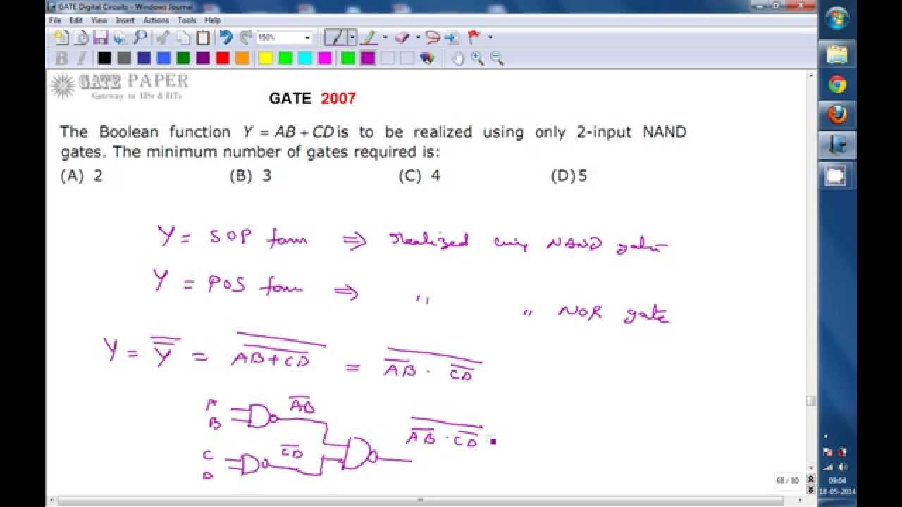 Gate 2007 Ece Realization Of Boolean Function Ab Cd Using Nand Logic Diagram Only Gates