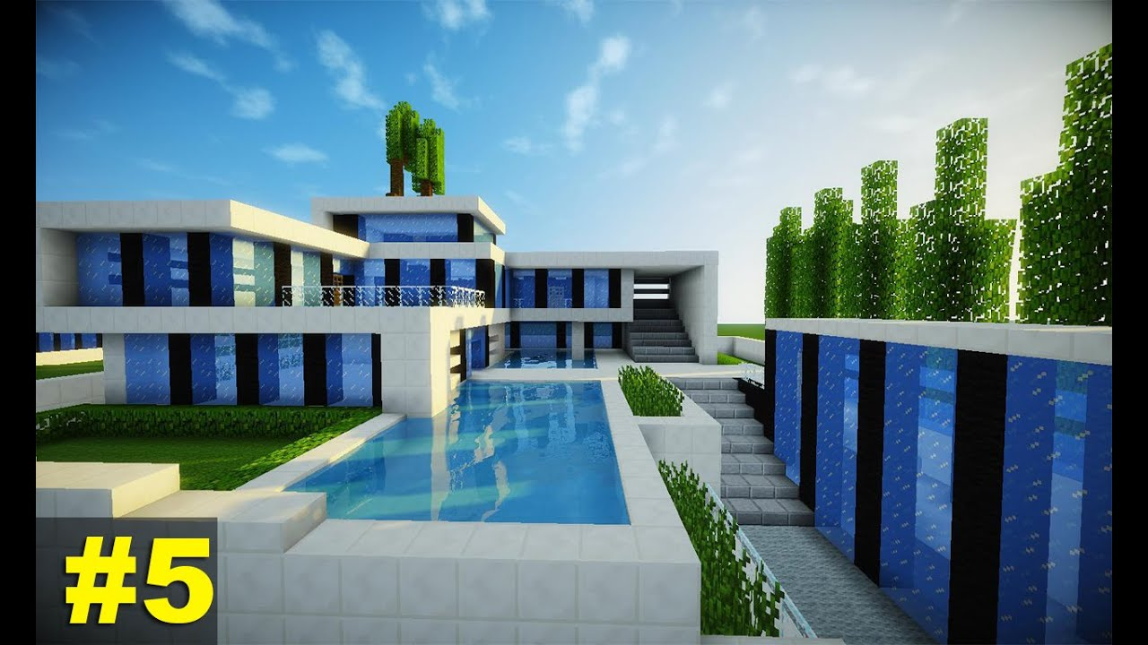 Minecraft tutorial casa super moderna parte 5 youtube for Fotos de casas modernas simples