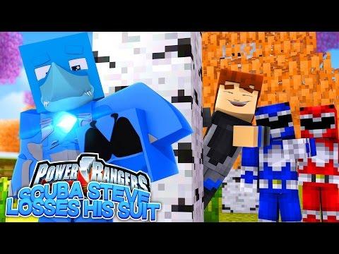 SCUBA STEVE LOSES HIS POWER RANGER SUIT   Minecraft Bed Wars