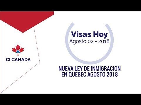 Ley de Inmigración de Quebec a partir 2 de agosto 2018