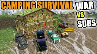 SURVIVAL CAMPING WAR VS SUBSCRIBERS! WITH NEW HOUSE! | LIVE STREAM | FARMING SIMULATOR 2017