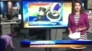 My Local News Fail Woman Falls in Background of KRQE Live Broadcast 8 16 2013