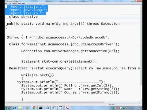 Java msaccess connection  retrive record from table jdk1. 8 Tamil tutor