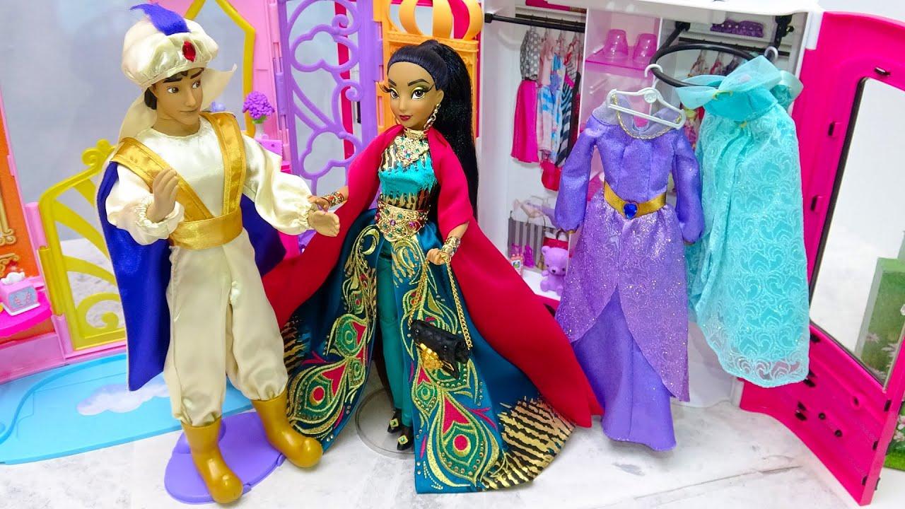 プリンセスお姫様 パジャマ ベットルーム朝食からの一日 ジャスミン バービー人形 着せ替えごっこ ドレスに大変身 ✨ Barbie 化粧箱 手作り工作 DIY❤️