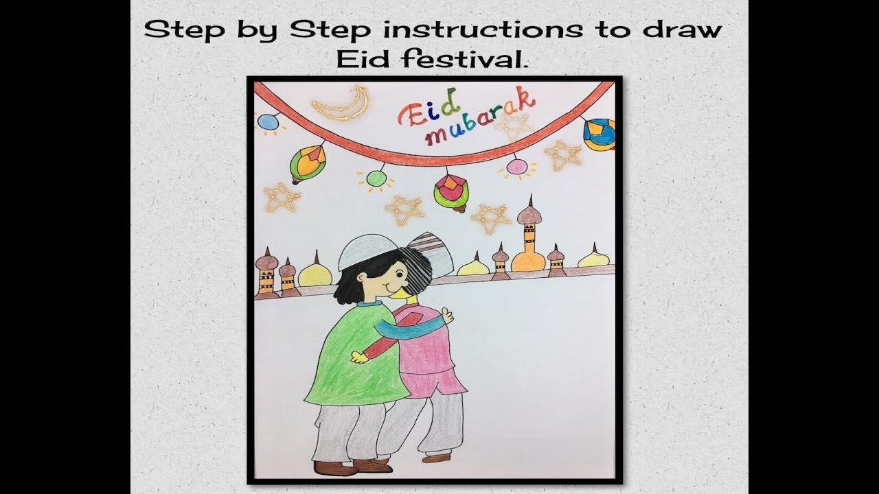 Teaching Kids Draw Eid Mubarak Using Simple Shapes And Curves Youtube