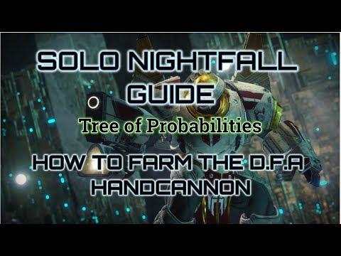 Solo Nightfall Guide. How to Farm the D.F.A Handcannon.