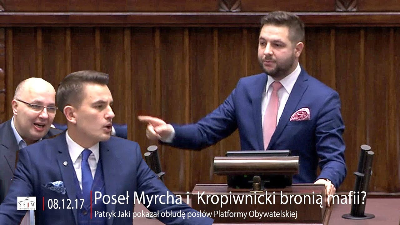 Poseł Myrcha i  Kropiwnicki bronią mafii? Patryk Jaki pokazał obłudę posłów PO