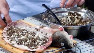 Карп на мангале, фаршированный сыром и грибами  Быстрый и вкусный рецепт