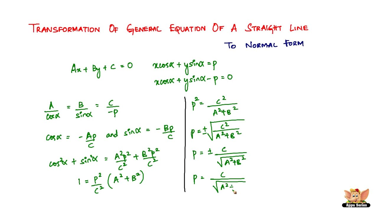 Transformation of General Equation of a Straight Line to Normal ...