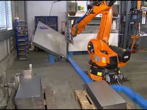 Automatic Bending Of Sheet Metal With A Kuka Robot Youtube