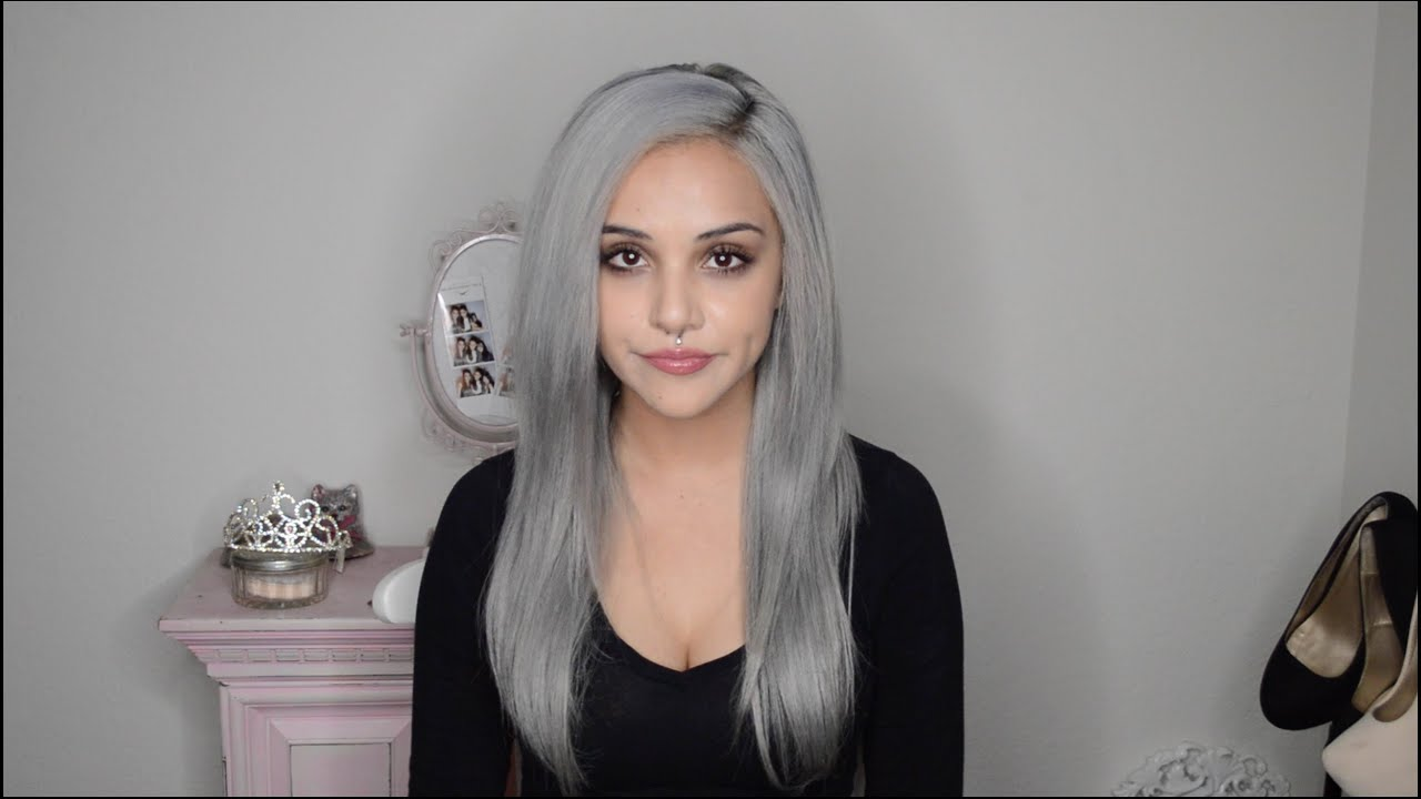 Dying hair silver grey - YouTube
