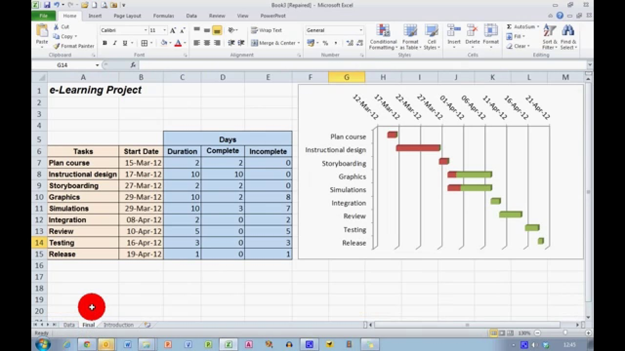 how to create a progress gantt chart in excel 2010 youtube