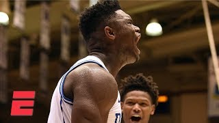 Zion Williamson's dunks, 29 points lead Duke to 30-point win   College Basketball Highlights