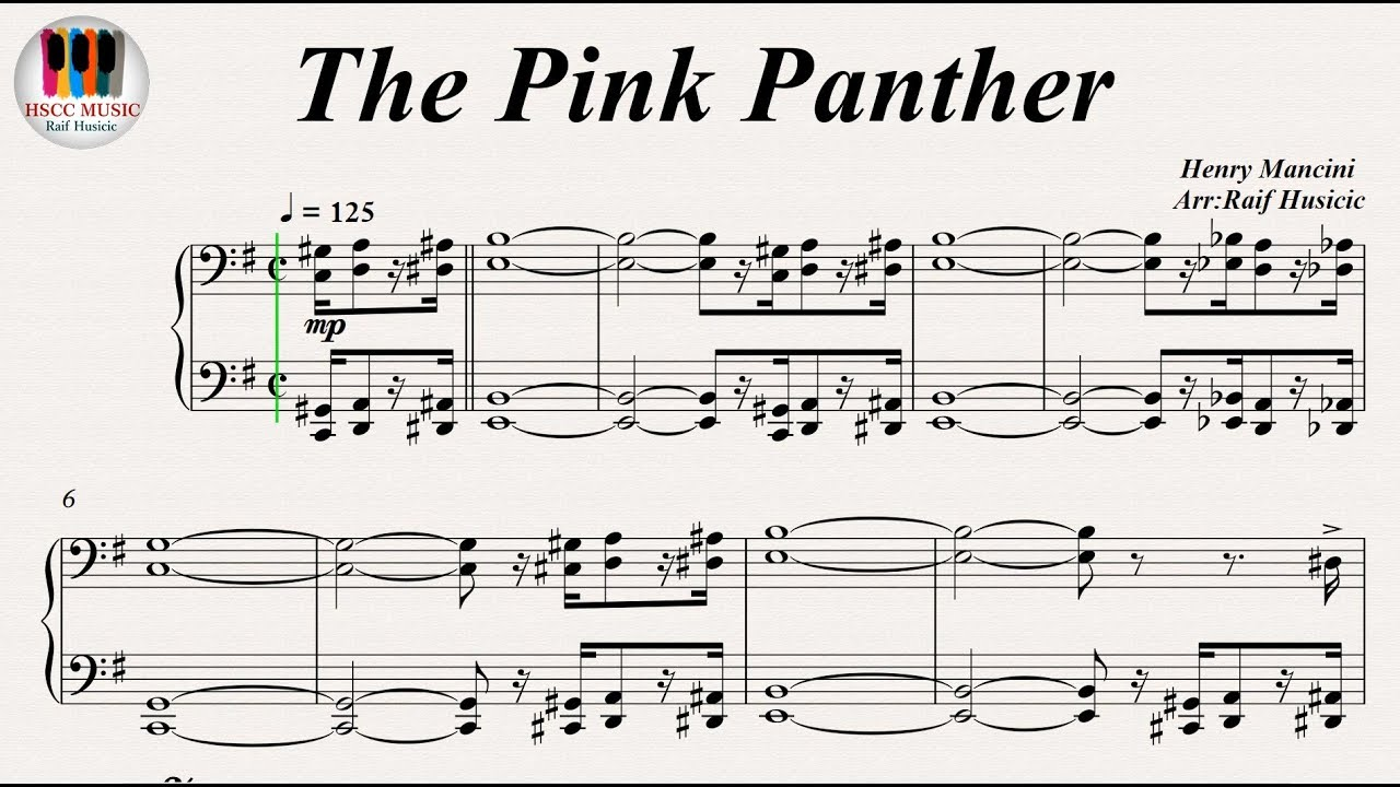 The Pink Panther Piano Pdf Youtube