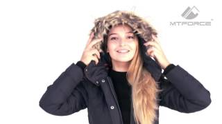 Куртка зимняя женская темно-синего цвета F02