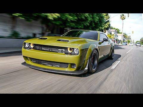 Mean Green SuperStock Hellcat, Brown Widebody Lamborghini Urus.