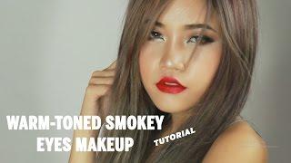warm toned smokey eyes makeup tutorial