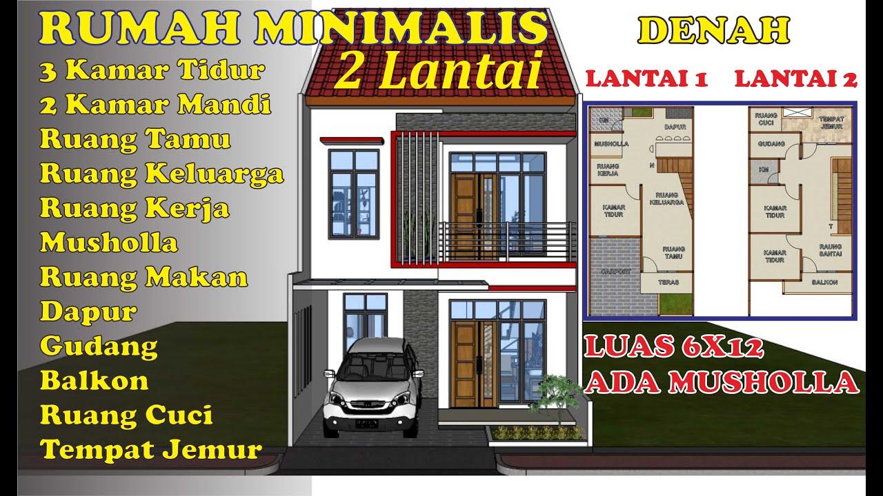 Rumah Minimalis 2 Lantai 6x12 Ada Musholla 3 Kamar Tidur Desain Dan Animasi Youtube