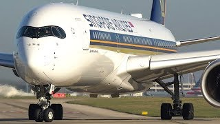 INCREDIBLE ENGINE SPOOL UPS-  26 Up Close Takeoffs at Manchester Airport- A380,787,A350,A330, 757