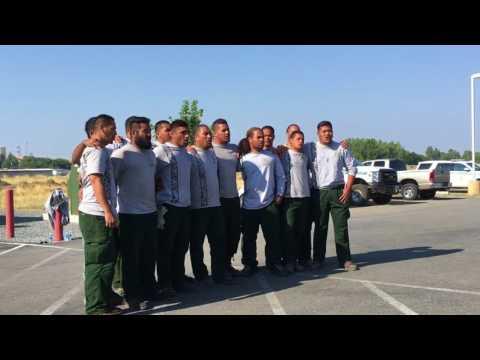 American Samoa fire crew sings -Hymn