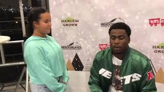 Talia Interviewing Quincy Enunwa At The Meadowlands Racetrack Toys For Tots Charity Event.