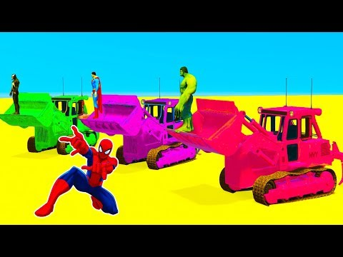 Thumbnail: LEARN COLOR for Kids Bulldozer Race - Superheroes Cartoon Cars Spiderman for Babies