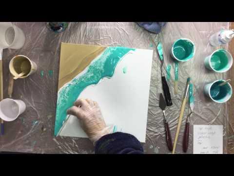 ( 033 ) Acrylic pouring beach scene (request)