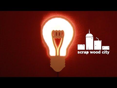 DIY light bulb shaped, wooden lamp