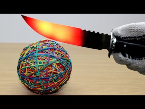 Thumbnail: EXPERIMENT Glowing 1000 degree KNIFE vs Rubber Band Ball (2000 Rubbers)