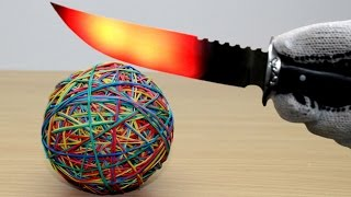 EXPERIMENT Glowing 1000 degree KNIFE vs Rubber Band Ball (2000 Rubbers)