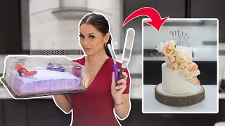TURNING A $20 GROCERY STORE CAKE INTO A WEDDING CAKE!