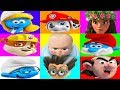 Paw Patrol Plays The Smurfs Mega Color Board Game with Boss Baby, Surprise Toys | Ellie Sparkles