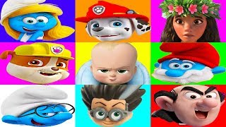 Paw Patrol Plays The Smurfs Mega Color Board Game with Boss Baby, Surprise Toys   Ellie Sparkles
