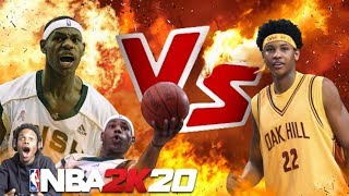 NBA 2K20 LEBRON JAMES VS CARMELO ANTHONY!! WE PLAYED IN A HIGH SCHOOL STADIUM!!