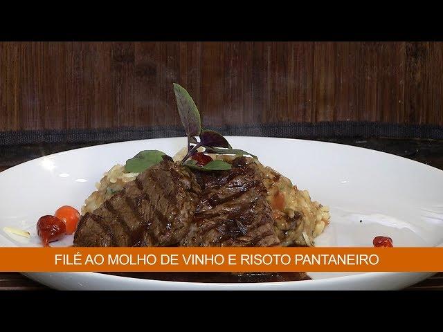 FILÉ AO MOLHO DE VINHO E RISOTO