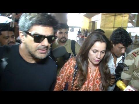 Neelam & Sameer Soni at Mumbai Airport post Black Buck Case Verdict