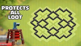 Clash of Clans - TH7 Farming Base BEST Town Hall 7 Defense Strategy With Air Sweeper 2015