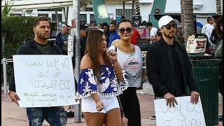 Jersey Shore cast holds signs to date DJ Pauly D in Miami