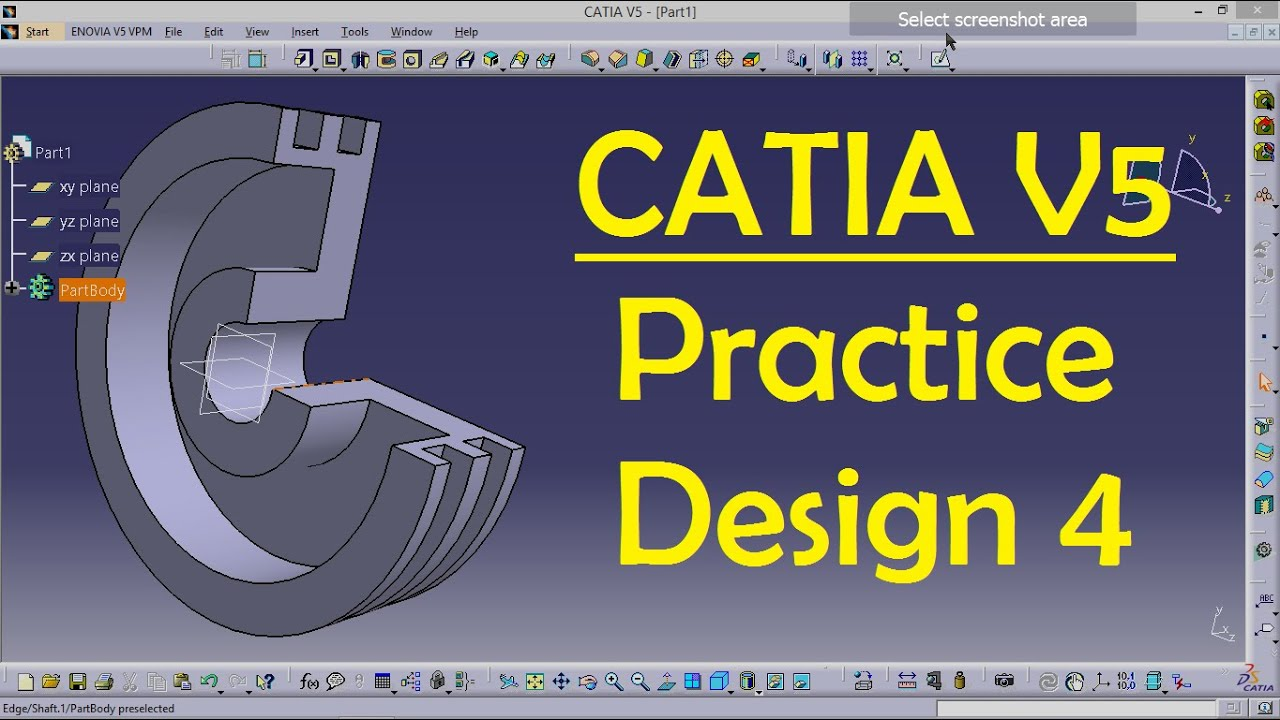 CATIA V5 Practice Design 4 for beginners | Catia Part modeling | Part  Design | Engineer AutoCAD
