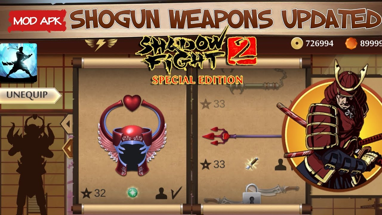 All Shogun Weapons updated || Shadow fight 2 special edition Mod Android  Gameplay