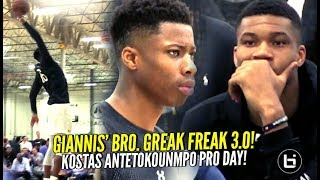 Giannis Watches Lil Bro Kostas Antetokounmpo PRO-DAY WORKOUT In Front of Magic Johnson & NBA Execs!