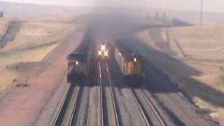 Repeat youtube video Three UP Coal Trains South of Bill, WY