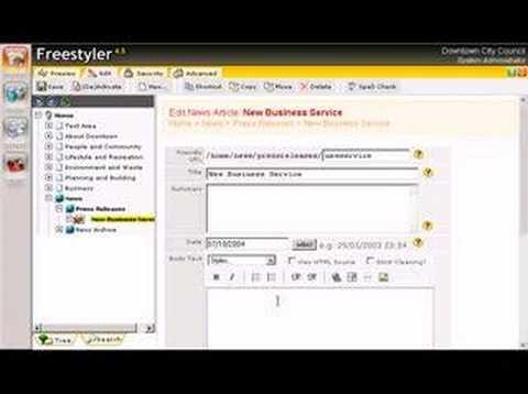 Editing A Website Using Freestyler CMS