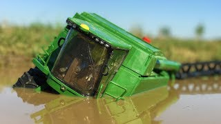 BRUDER TOYS combine harvester John Deere drowns in the MUD! | Combine crash | Kids videos