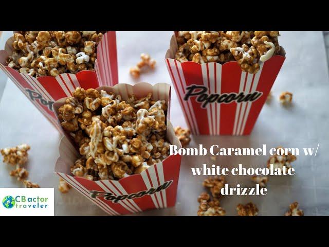 Bomb Caramel Corn w/ white Chocolate drizzle