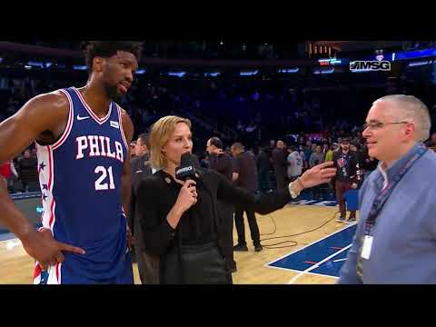 Joel Embiid On Crashing Into Front Row & Facing Mitchell Robinson | New York Knicks Post Game