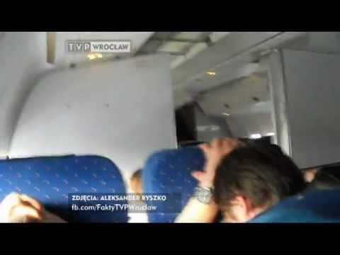 """Materiał ze środka lądującego Boeinga 767 - """"Fakty"""" TVP Wrocław"""