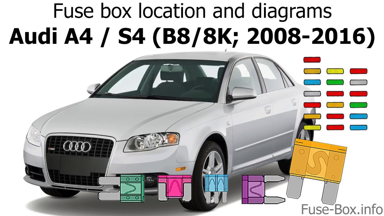 fuse box location and diagrams: audi a4 / s4 (b8/8k; 2008-2016) - youtube  youtube