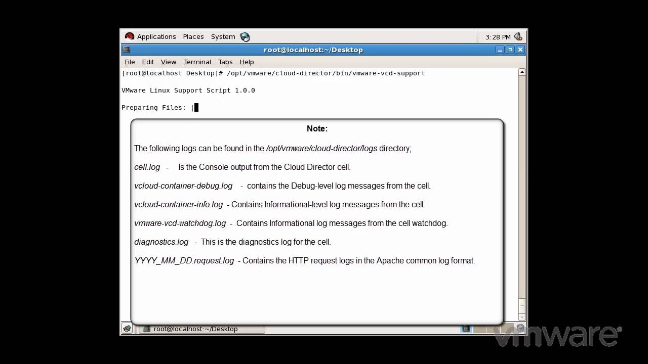 Collecting diagnostic information for VMware vCloud Director